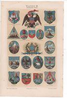 CHROMO-LITHOGRAPHIE AUS MEYER'S LEXIKON 1895  HERALDIK  WAPPEN  AMERIKA - Lithographies