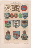 CHROMO-LITHOGRAPHIE AUS MEYER'S LEXIKON 1895  HERALDIK  WAPPE - Lithographies