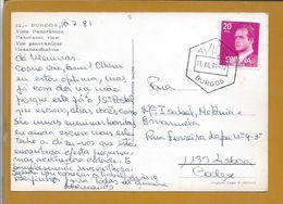 Heptagonal Obliteration Of Burgos 1981.Airplane. Postcard Of Ponte De Burgos.Flugzeug. Postkarte Der Brücke In Burgos. - 1981-90 Covers