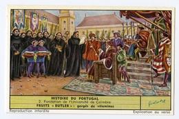 """{30640} Chromo / Image Liebig """" Histoire Du Portugal """" Fondation De L' Université De Coïmbre . TBE. """" En Baisse """" - Liebig"""