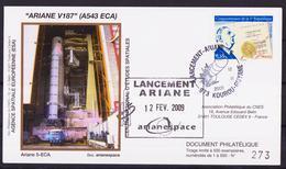 ESPACE - ARIANE Vol Du 2009/02 V187 - CNES - 5 Documents - FDC & Commémoratifs