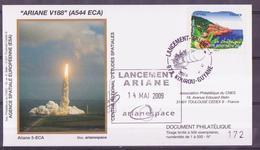 ESPACE - ARIANE Vol Du 2009/05 V188 - CNES - 4 Documents - FDC & Commémoratifs