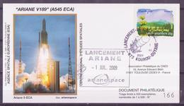 ESPACE - ARIANE Vol Du 2009/07 V189 - CNES - 3 Documents - FDC & Commémoratifs