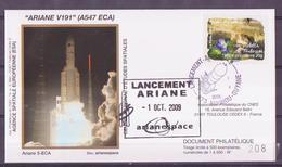 ESPACE - ARIANE Vol Du 2009/10 V191 - CNES - 4 Documents - FDC & Commémoratifs