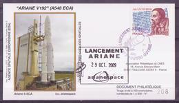 ESPACE - ARIANE Vol Du 2009/10 V192 - CNES - 4 Documents - FDC & Commémoratifs