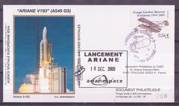 ESPACE - ARIANE Vol Du 2009/12 V193 - CNES - 3 Documents - FDC & Commémoratifs