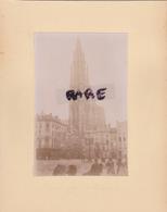 LOT DE 2 PHOTOS ANCIENNES,1880,BELGIQUE,ANVERS,LA CATHEDRALE,ET LIEGE,MISES SUR LE MEME CARTON,RECTO VERSO - Places