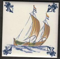 Netherlands / KLM Business Class / Delft Polychrome / Porselein Tegel / Porcelain Tile / C 3 - Fishing Boat - Delft (NLD)
