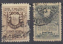 SAN MARINO - 1907 - Serie Completa Usata: Yvert 47 E 48, Come Da Immagine. - Oblitérés