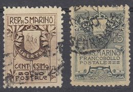SAN MARINO - 1907 - Serie Completa Usata: Yvert 47 E 48, Come Da Immagine. - Saint-Marin
