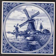 "Netherlands / Windmill / Porselein Tegel / Porcelain Tile / Delft Blauw / Delft Blue / Hand Painted ""Wind Mill"" - Delft (NLD)"