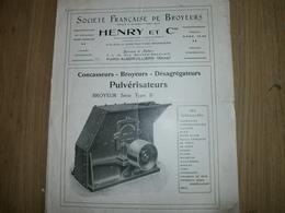Dépliant Publicitaire De LA SOCIETE FRANCAISE DE BROYEURS HENRY ET CIE - Publicités
