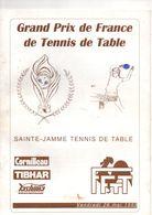 Programme Grand Prix De FRANCE Tennis De Table En 1995 à SAINTE-JAMME, (72), 14 Pages, Quelques Annotations Au Crayon - Programs