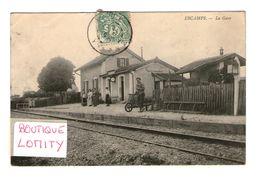 89 Escamps La Gare Train Chemin De Fer Cpa Carte Animée Animation Cachet 1907 Carte Rare - Autres Communes