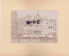 LOT DE 2 PHOTOS ANCIENNES,1880,BELGIQUE,BRUXELLES,L'ESCAUT,RARE,SUR LE MEME CARTON,RECTO VERSO - Lieux