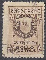 REPUBBLICA DI SAN MARINO - 1907 - Yvert 47 Usato,  Come Da Immagine. - Saint-Marin