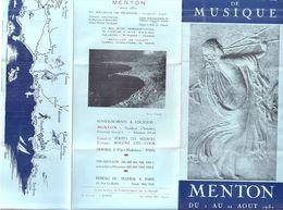 FESTIVAL DE MUSIQUE-IVe FESTIVAL DE MUSIQUE DE CHAMBRE-MENTON AOUT 1953 -YEHUDI MENUHIN  GRAZIELLA SCIUTTI - Programs