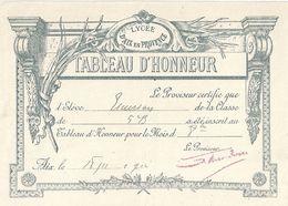 TABLEAU D'HONNEUR -LYCEE D'AIX EN PROVENCE  1904 - Diplômes & Bulletins Scolaires