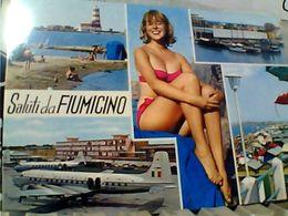 FIUMICINO AEREOPORTO AEREO AVION E RAGAZZA COSTUME PIN UP   VB1971 GT2458 - Fiumicino