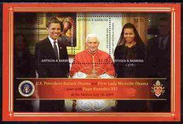 47705 Antigua 2009 Barack Obama Meets Pope Benedict Perf Sheetlet (peace Americana Presidents Nobel Masonic) - Antigua And Barbuda (1981-...)