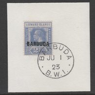 906070 Barbuda 1922 Overprint On Leeward Islands 2.5d Bright Blue SG 4 On Piece With Madame Joseph Forged Postmark (KG5) - Antigua & Barbuda (...-1981)