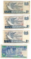 Singapore Lot , 1 Dollar X4, Used, See Scan. - Singapour