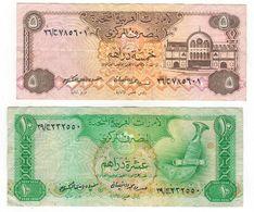 United Arab Emirates Lot, 5 & 10 Dirhams, N/D (1982), P- 7 & P-8, VF, See Scan - United Arab Emirates