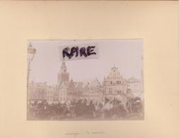 LOT DE 2 PHOTOS ANCIENNES,1880,NIMEGUE,GUELDRE,ET AMSTERDAM,AMSTEL,PAYS BAS,RARE,SUR LE MEME CARTON,RECTO VERSO - Lieux