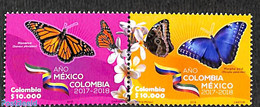 Colombia 2018 Butterflies, Colombia-Mexico Year 2v [:], (Mint NH), Butterflies - Colombia