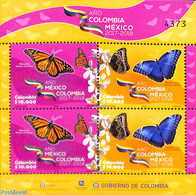Colombia 2018 Butterflies, Colombia-Mexico Year M/s (with 2 Sets), (Mint NH), Butterflies - Colombia