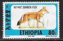 Ethiopia, Scott # 1393P Used Simien Fox, 1994 - Ethiopia