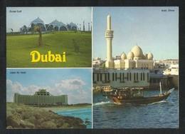 United Arab Emirates Dubai 3 Scene Dubai Golf Jebel Ali Hotel Arab Dhow  Picture Postcard U A E View Card - Dubai