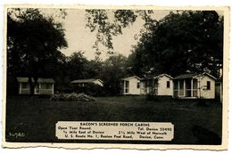 United States 1941 Postcard Bacon's Screened Porch Cabins - Darien, Connecticut - United States