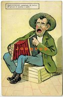 Postale Umoristica Illustrata Professore Con Fisarmonica Musica E Canto Italia 1925 - Humour