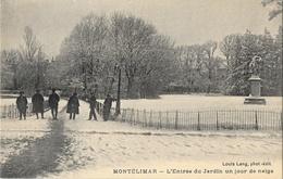 Montélimar - Le Parc, L'Jardin Du Public Un Jour De Neige - Edition Louis Lang, Carte Non Circulée - Montelimar