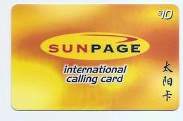 PHONECARD - SINGAPORE SUNPAGE Intl Calling Card $10 - USED - NO VALUE - Singapore