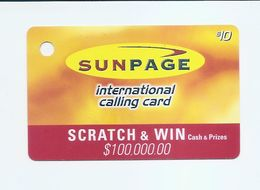 PHONECARD - SINGAPORE SUNPAGE Intl Calling Card $10 2003 - USED - NO VALUE - Singapore