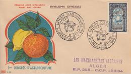 Enveloppe  FDC  1er  Jour  ALGERIE   Congrés  D' Agrumiculture   ALGER   1954 - Algérie (1924-1962)