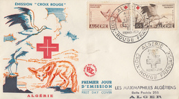 Enveloppe  FDC  1er  Jour  ALGERIE   Paire  CROIX  ROUGE   1957 - Algérie (1924-1962)