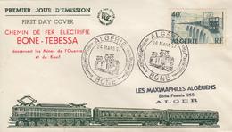 Enveloppe  FDC  1er  Jour  ALGERIE   Ligne  Electrifiée  BONE - TEBESSA   1957 - Algérie (1924-1962)