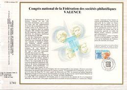 1988 DOCUMENT FDC CONGRES PHILATELIQUE VALENCE DROME - 1980-1989