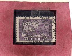 "HUNGARY UNGHERIA MAGYAR 1927 1930 AIR MAIL POSTA AEREA Mythical ""Turul"" 32f USATO USED OBLITERE' - Posta Aerea"