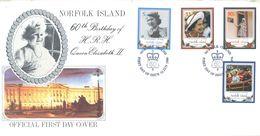 NORFOLK ISLAND - FDC - 12.6.1986 - 60th BIRTHDAY ELIZABETH II  - Yv 381-384 ASC 383-386 - Lot 17498 - Ile Norfolk