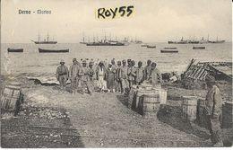 Libia Colonie Italiane Colonia Italiana Derna Marina Veduta Militari Spiaggia Mare Navi Animatissima - Libye