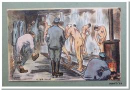 CPA - Humour Militaire : Le Bain Douche - Illustrateur Gabard - 1918 - Humour