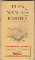 Depliant Touristique Carte Plan Et Noms De Rues Nantes Et Banlieu - Dépliants Turistici