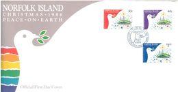 NORFOLK ISLAND - FDC - 23.9.1986 - CHRISTMAS PEACE ON EARTH  - Yv 385-387 ASC 387-389 - Lot 17500 - Ile Norfolk