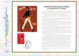 1993 DOCUMENT FDC JOURNEE DU TIMBRE - FACTEUR DE JACQUES TATI - FDC