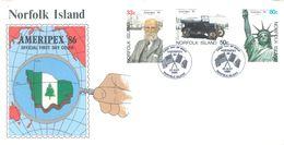NORFOLK ISLAND - FDC - 23.5.1986 - AMERIPEX  - Yv 378-380 ASC 380-382 - Lot 17501 - Ile Norfolk