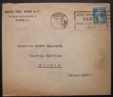 1924 Jeux Olympiques Oblitération Mécanique Sur Lettre De Paris CàD Gare Saint Lazare Agence Fred Olsen - Marcophilie (Lettres)